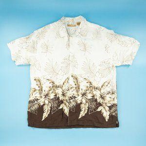 Havanera Men's Button Shirt Hawaiian Floral White